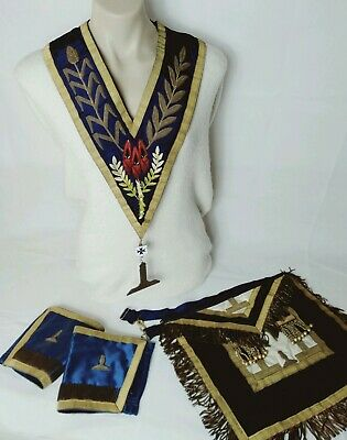 Freemason set Stirling silver Navy leather Apron collar Gold Fringe antique cuff