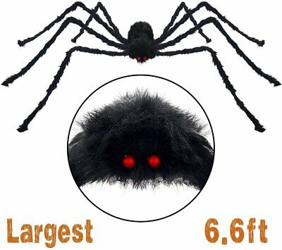 200/6.6FT Plush Giant Spider Decoration Halloween Haunted House Garden Props