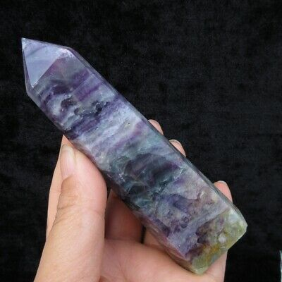 260g FLUORITE CRYSTAL SINGLE POINTED QUARTZ PENCIL HEALING WAND RAINBOW OBELISK