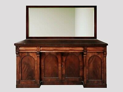 Antique Victorian sideboard, chiffonier, with mirror, mahogany.