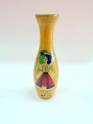 19th antique japanese wooden vase hand painted women hand carved
