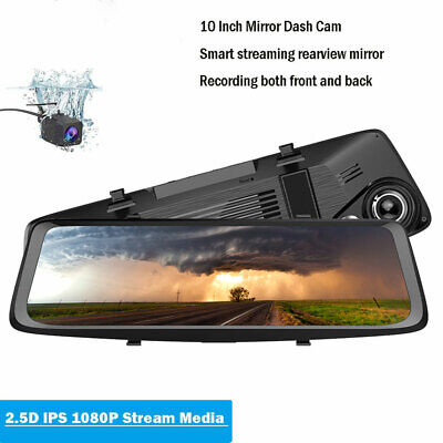 "10"" HD 1080P Dual Lens Car DVR Rearview Mirror Dash Cam Recorder + Rear Camera !"