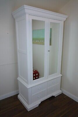 Venetian Double Armoire Wardrobe In White - Shabby Chic Style Double Wardrobe