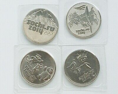RUSSIA SET 4 COINS 25 RUBLES SOCHI WINTER OLYMPIC 2014 UNC