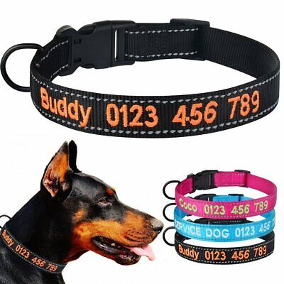 Reflective Personalised Dog Collar Embroidered ID Collars Puppy Boy Girl Nylon