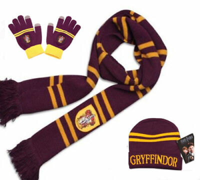 3x Harry Potter Gryffindor Scarf and Beanie Hat Cap and Gloves Costume Xmas Gift