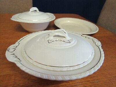 1930s 2 Covered Dishes and Platter in Cream Diana New Hall Hanley England