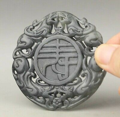 Chinese old natural jade hand-carved statue dragon pendant 2.6 inch