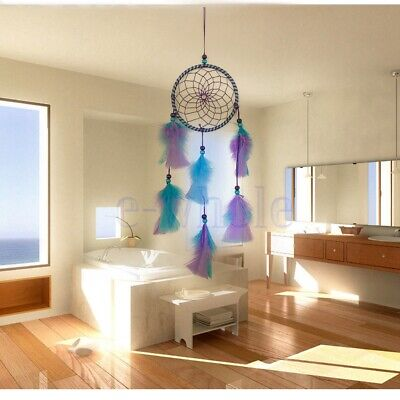 Colorful Dream Catcher With Purple and Blue Feather Room Home House Decor TW