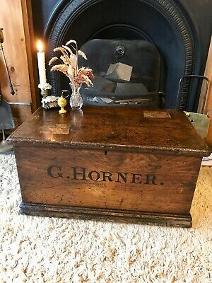 Fabulous Antique Victorian Vintage Old Pine Chest / Trunk / Small Box c1860's