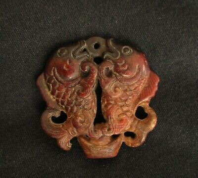Old Chinese Red Nephrite Jade Feng Shui Pendant Statue - A Pair of fish