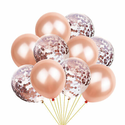 10-100pcs Confetti Latex Balloons Rose Gold Helium Pearl Balloon  Party Decor UK