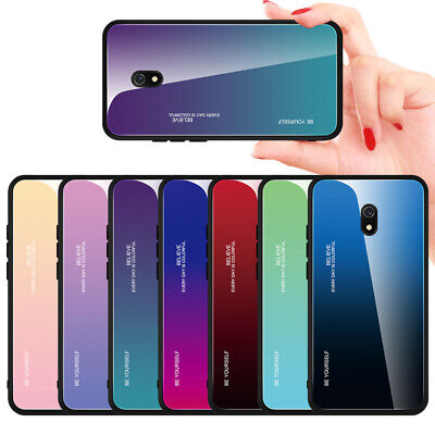 For Xiaomi Redmi 8A Note 8 Pro Shockproof Gradient Tempered Glass Case Cover