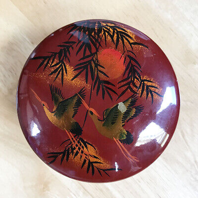 Japanese Vintage Old Lacquerware Black Bowl Lidded Owan Red Bird Crane Makie