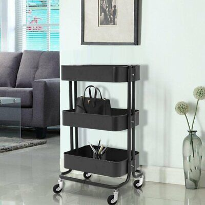 Black 3 Tiers Salon Hairdressing Trolley Storage Cart Spa Beauty Salon Tool