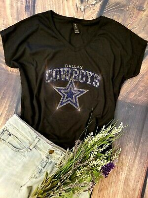 Womens Rhinestone New Dallas Cowboys Low Cut V-Neck Fitted T-shirt Tee