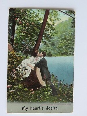 1909 Antique Postcard My Heart's Desire Romance Kissing Used Vintage Old #2319