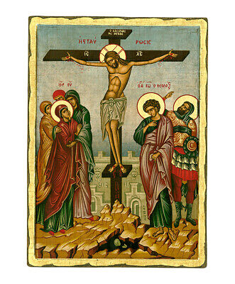 Byzantine Orthodox Greek Icon The Crucifixion 17.7X12.5 inch. Handcrafted Wood