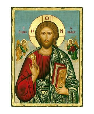 Byzantine Orthodox Icon Jesus Christ Pantocrator 17.7X12.5 in. Handcrafted Wood