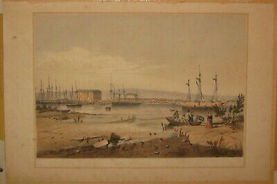 RARE Antique 1847 'Port ADELAIDE' from South AUSTRALIA Illustrated LITHOGRAPH