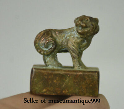 3CM Ancient China Bronze Royal Dynasty Tiger Animal Seal Signet Stamp Statue