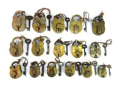 Antique Brass Padlocks Old Collection Of Working Key Lot Of Usable Locks G1-1 AU