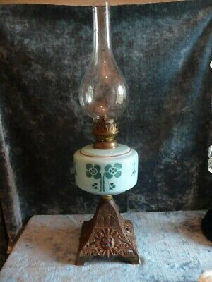 Antique Blue Floral Ceramic Oil lamp on decorative Cast Metal Base