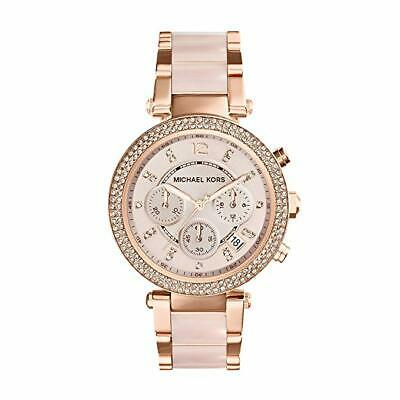 Michael Kors Parker 39mm Rose Gold-Tone Blush Acetate Watch for Women (MK5896)