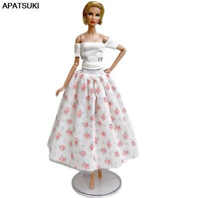"""White Floral Fashion Doll Clothes For 11.5"""" Doll Outfits White Top & Midi Skirt"""