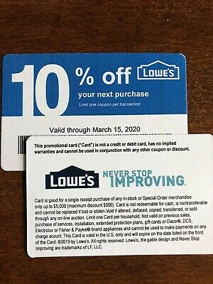 2 Home Depot 10% OFF coupons expires 3/15/20 that ONLY WORK AT LOWES COMPETITORS
