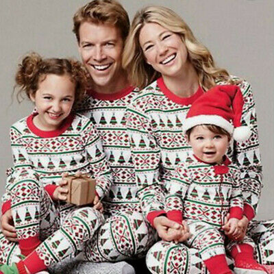 Xmas Family Matching Pajamas Adult Kids Christmas Pyjamas Nightwear PJs Sets UK