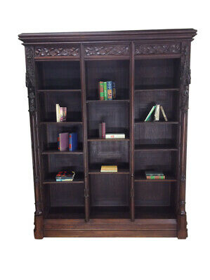 Antique French Gothic Bookcase, Adjustable Shelves, Oak, 19Th Century