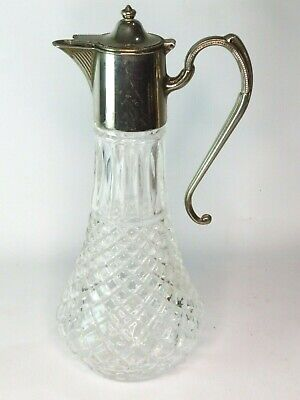 """Vintage English Silver Plated Patterned Glass Claret Jug 11.5"""" / 29cm Tall"""