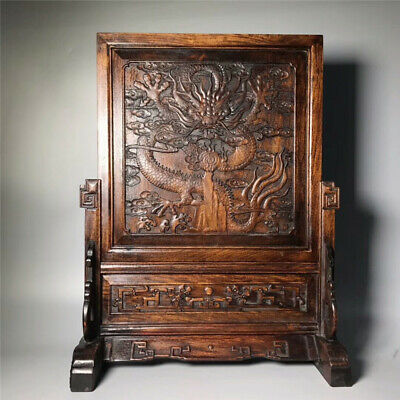 """23.62""""Chinese Exquisite wood Hand-carved Dragon pattern screen statue"""