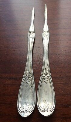 Estate Silver Plate WMA Rogers Mfo Co Seafood Pick Set Of Two Pieces*