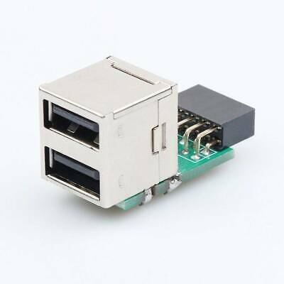 Motherboard to Double Layer 2Port USB2.0 A Female Internal Header Adapter 9Pin l