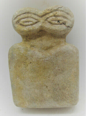 Circa 5000Bce Ancient Syro Tel Brak Stone Carved All Seeing Eye Idol
