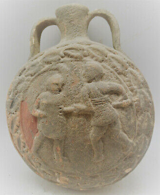 Superb Ancient Roman Terracotta Amphora Flask With Scene Of Two Gladiators