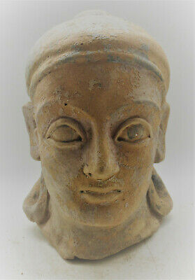 Circa 100Bc-100Ad Ancient Indo-Greek Terracotta Head Statue Fragment Rare