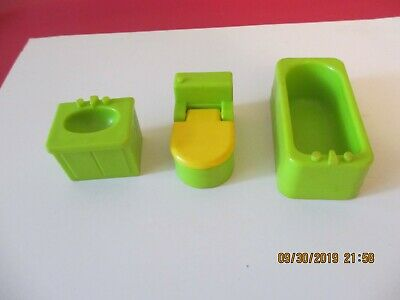 Vintage Fisher Price little people lime green bathroom set-toilet/tub/sink
