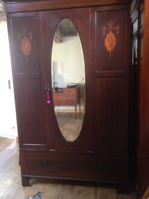VICTORIAN ROSEWOOD WARDROBE with drawer, mirror and pretty marquetry inlay