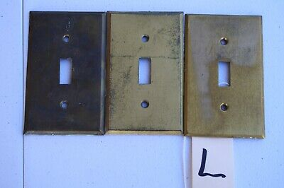 L 3 Victorian Antique Brass Single  Wall Light Toggle Switch Plate Cover