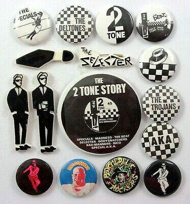 SKA AND TWO TONE BADGES 16 x Vintage Pin Badges * Rude Boy * The Specials *