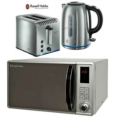 Russell Hobbs Buckingham Silver Kettle and 2-Slot Toaster with Microwave - New