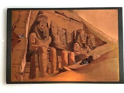 "Large Egyptian Copper Wall Plaque ""The TEMPLE of Aboo Simbel"" Signed El Shami"