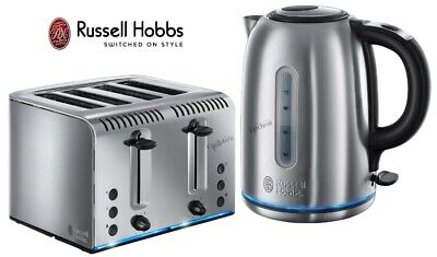 Russell Hobbs Buckingham Kettle and Toaster Set Silver Kettle & 4-Slot Toaster