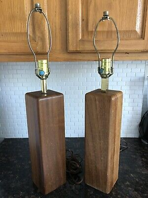 Mid-Century Solid Teak and Brass Lamp