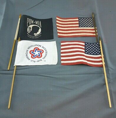 Four small AMERICAN Parade Flags ~ 6 X 4 Inch Each ~ 4 Items