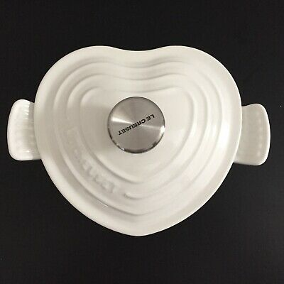**Very Rare** Le Creuset 1qt Shiny White Heart Shape Cast Iron