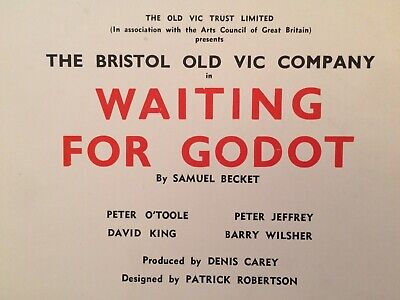 Original 1957 - PETER O'TOOLE - WAITING FOR GODOT (Bristol Old Vic) - Placard
